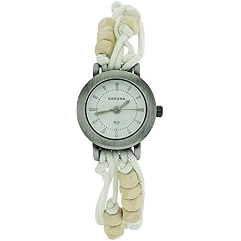 Kahuna Donna Bianco String Bead Bracelet Watch Toggle Chiusura Pull KLF-0001L