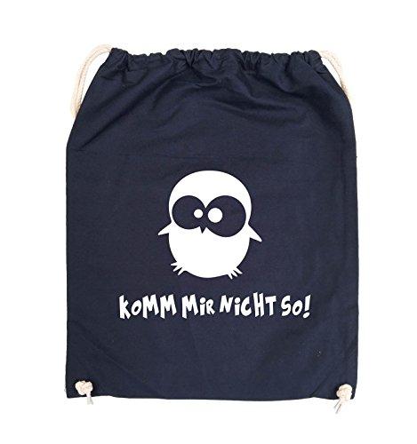 Comedy Bags - Komm mir nicht so! - EULE - Turnbeutel - 37x46cm - Farbe: Schwarz / Silber Navy / Weiss
