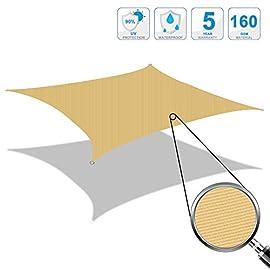 Colore Sabbia Resistente e Traspirante Cool Area Tenda a Vela Triangolare 5 x 5 x 5 Metri Protezione Raggi UV