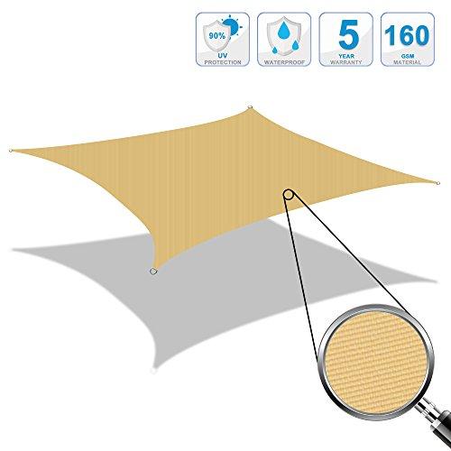 Cool Area Toldo Vela de Sombra rectángulo 2 x 3 Metros protección UV Impermeable, Color Crema