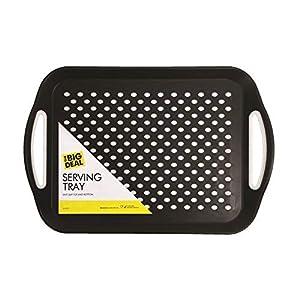 1 x Rechteckig rutschfest Servieren Calm and Schwarz oder Weiß Farbe bei Zufällig - 40.5x28.5cm- ideal für Essen/Abendessen/Getränke