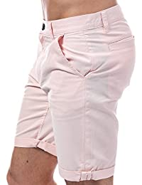 D-Struct Mens Miko Chino Shorts in Pink- Zip Fly- Five Pocket Design- Belt Loops