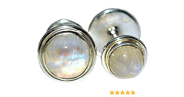 Luxury Sterling Silver Mens White Moonstone Cufflinks 2 Natural Gemstones Rainbow
