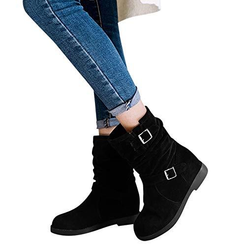 TianWlio Stiefel Frauen Herbst Winter Schuhe Stiefeletten Boots Warme Feste Erhöhung Metall Retro Stiefeletten Runde Zehen Schuhe Schwarz 38