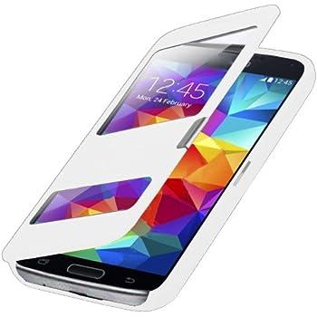 Flip Cover Tasche Samsung Galaxy S5 G900 / Samsung Galaxy S5 Neo SM-G903F Schutz Hülle Case Weiss S-view Style + mit Sichtfenster + Folie