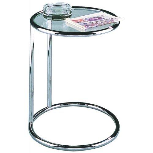 Glas Metall-beistelltisch (HAKU Möbel 64235 Beistelltisch 55 x 45 cm, chrom)