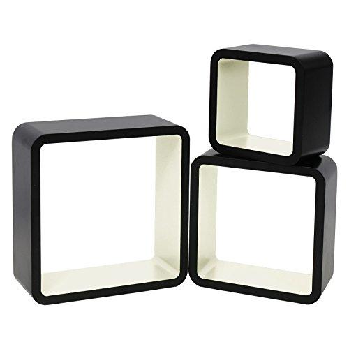 WOLTU RG9269cm-c Wandregal Cube CD Regal 3er Hängeregal Würfel, schwarz-Creme