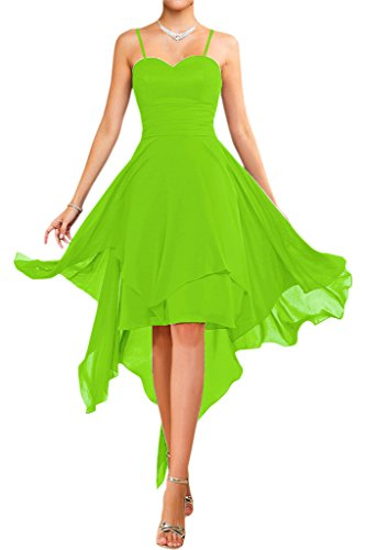 Victory Bridal Modisch Traegerlos Abendkleider Kurz Chiffon Sommerkleider Tanzkleider Brautjungfernkleider Lemon Gruen-traeger