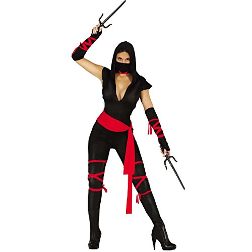 Amakando Samurai Damenkostüm Ninja Kostüm Damen M 38/40 Karnevalskostüm Ninja-Kriegerin Faschingskostüm Japanische Kämpferin Outfit Mottoparty Japan Frauenkostüm Shinobi
