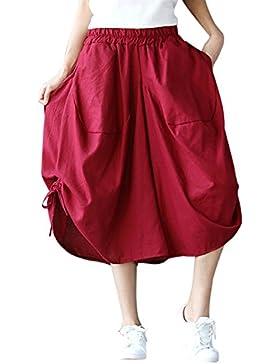 FEOYA Pantalones Anchos Harem Bombacho Holgado para Mujeres Cintura Elástica Transpirable con Bolsillos Vintage...