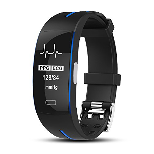 Uhruolo Smartwatch, Fitness Tracker mit Pulsmesser PG + EKG Fotoelektrische Elektrode Elektrokardiogramm Blutdruck Herzfrequenzmessung Wasserdichte Smart Band,Blue