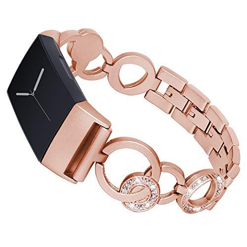 samLIKE Edelstahl Armband für Fitbit Charge 3 für Damen Ersatzarmband Aushöhlen Design Sportarmband mit Glitzer Legierung Kristall Leicht zu Entfernen, 5 Farben, 140-205MM (Roségold)