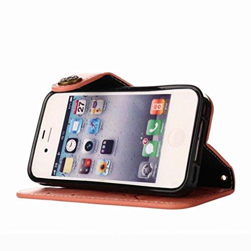 LEMORRY Apple iPhone 4 4s Custodia Pelle Portafoglio Guardare-Supporto Morbido interno TPU Silicone Bumper Protettivo Magnetico Slot per schede Cuoio Borsa Flip Cover per iPhone 4s, Retro Rosa (Marron Piuttosto rosa