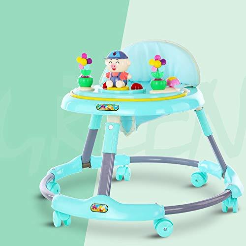 Btybess Baby-Wanderer-Musik-Baby-Faltrad 6-18 Monate Kinder Prolongation sicheren Multi-Funktions-Walker, faltbar Activity Walker Helfer mit Einstellbarer Höhe (Color : Grün)