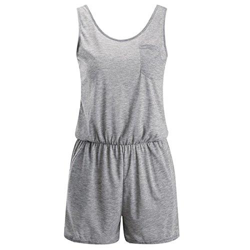 Malloom Damen M盲dchen Sommer Feiertag 盲rmellose Rundhals Strand Overalls Baumwollhose Spielanzug mit Tasche Grau