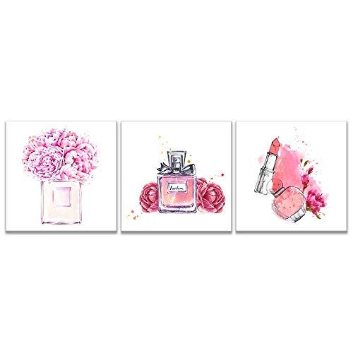 iKNOW FOTO Leinwand-Set, 3-teilig, Pink Makeup-Kunstdruck, gerahmt, Parfüm mit Lippenstift, Giclée-Druck auf Leinwand, für Wanddekoration, Schuhladen und Wanddekoration, fertig zum Aufhängen - Iii Gerahmt Leinwand