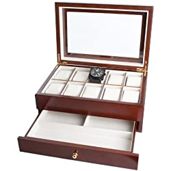 Mele & Co 10 Watch walnut veneer Display Box 1476