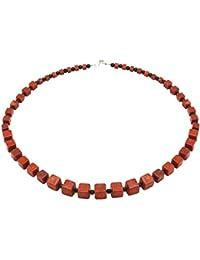 Designer Kette Collier Koralle & Onyx & 925 Silber Würfel rot schwarz Damen