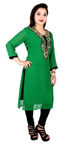 Indian Damen Billig Tunika Top für Bollywood Party Thema Kostüm Kurti 7014 - Grün, 48 (UK 20) XXXL