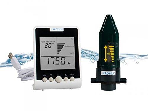 Füllstandsanzeige für Zisterne, Regenwassertanks. Ultraschall Füllstandssensor (batteriebetrieben) mit separatem Funk-Display - EcoMeter S - Funkübertragung bis zu 150m (3 Kabel Antenne Hinweis)