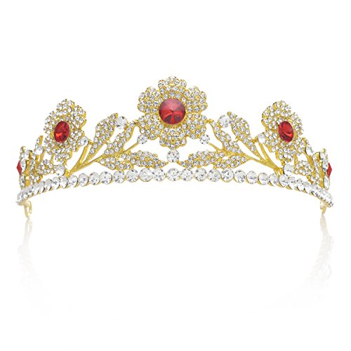 SWEETV Rojo Rubí Cristal Rhinestone Vendimia Corona Tiara Diadema Boda Fiesta Compromiso