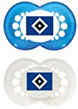 MAM 66180801 – Schnuller, Bundesliga, Football'Hamburger Sportverein' 6-16 Monate, Silikon, Doppelpack