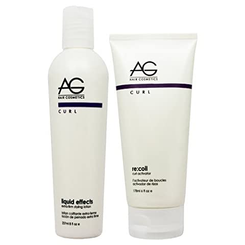 AG Hair Liquid Effects Extra-firm Styling Lotion 8oz & Recoil Curl Activator 6oz Set by AG Hair (Recoil Curl-activator)