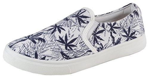 Weedwaii - stylischer Hawaii Hanf Print Slipper Sneaker Slip Ons Damen Boat Schuhe KULT DESIGN 36 37 38 39 40 41 Dunkelblau