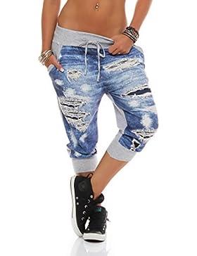 ZARMEXX pantalones capri damas Jogpants Jeans-pantalones de deporte de impresión de aspecto usado pantalones de...