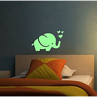 ABCUV Wall Decal Set of Glow in the Dark Elephant with Hearts
