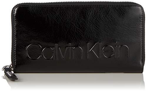 Calvin Klein Damen Edged Large Ziparound S Geldbörse, Schwarz (Black), 10x2.5x19 cm -