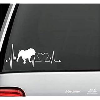 Artstickers Aufkleber Fahrzeuge mit Englische Bulldogge Hundeform in 20cm. Für Autoliebhaber. In Weiß. Aufkleber Herzschlag. Geschenk Spiralenaufkleber, eingetragene Schutzmarke.