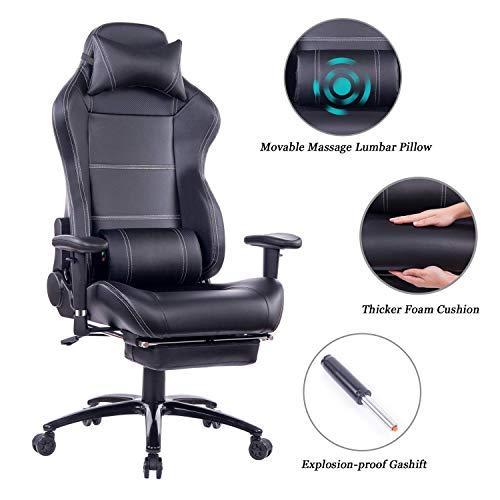 Wolmics Massage Gaming Stuhl mit Fußstütze Matel Base-Memory Foam Verstellbare Rückenlehne Liegender PC Computer Video Gamer Racing Stuhl PU Leder Schreibtisch Bürostuhl WS8263 Schwarz