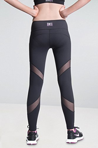 DEUCE SPORTS STAR Schwartz Damen Sporthose Yoga Fitness Gym Laufen Jogging Tennis Squash Hockey Leggings Stretch-hose Schwartz