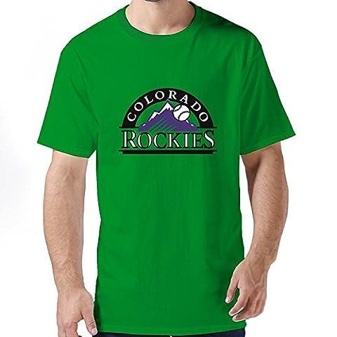Man Fashion Slim Fit MLB Colorado Rockies Logo T-shirtLarge
