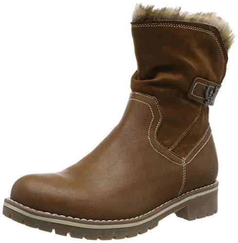 Gracosy donna stivaletti in pelle, scarpe da invernali stivali neve boots più velluto con tacco basso foderato di pelliccia marrone nero 37-42 comoda suola sconto mid polpaccio natale regalo 2019