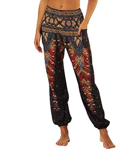 Haremshose Damen Pumphose Aladinhose Leichte Sommerhosen Bunte Frauen Weite Hosen Pluderhose Yoga Hose Baggy Aladin Pants Ballonhose Bundfaltenhose Strandhose Freizeithose Hippie Hose Lockere