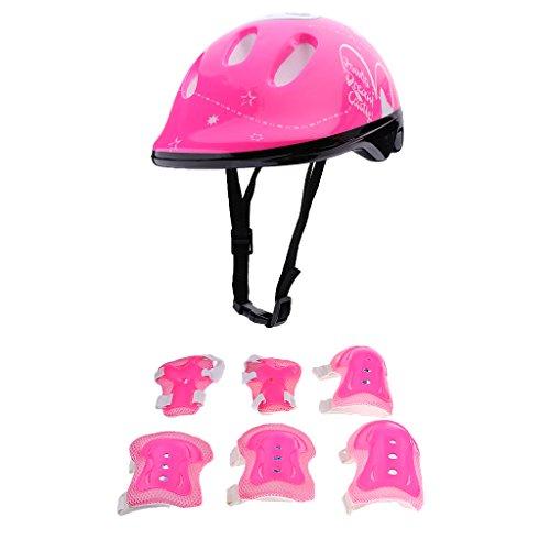 Sharplace Kinder Protektoren Set mit Sporthelm, Knieschoner, Ellenbogenschützer, Handgelenkschoner Schutzset - Rosa