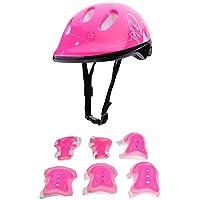 Sharplace 7Pcs/Set di Casco Ginocchio Gomito Pad Polsino per Bambini Roller Pattinaggio Bicicletta Protezione Accessori per Skateboard, Ciclismo - Rosa rosso