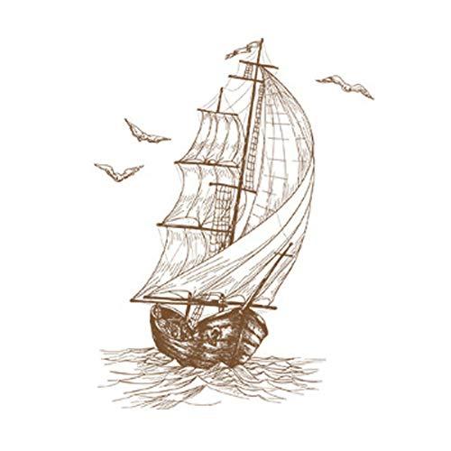 Rocita Etiqueta Creativa del diseño del Barco de Vela Boceto Tatuajes de Pared extraíble Pared de la Etiqueta de PVC Decoración Hogar para su casa