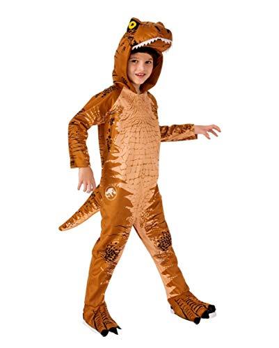 Horror-Shop T-Rex Kinderkostüm mit Kapuze Braun für Halloween oder Karneval S