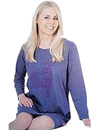 Moonline niedliches Damen-Nachthemd Sleepshirt langarm mit feinem Motivdruck in verschiedenen Farben und Größen