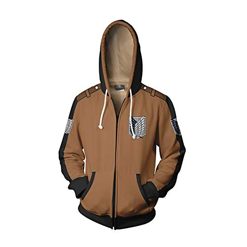 Memory meteor Attack on Titan Jacke Cosplay Jacke Kostüm Shingeki No Kyojin Langarm Hoodies Sweater Jacken Mäntel,Brown,L -