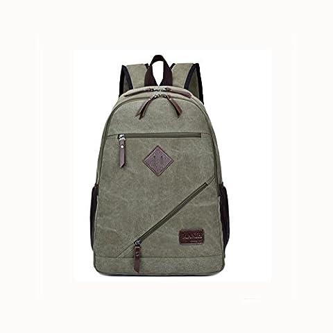 Backpack Toile sac à dos pour ordinateur portable 15.6 pouces , army green