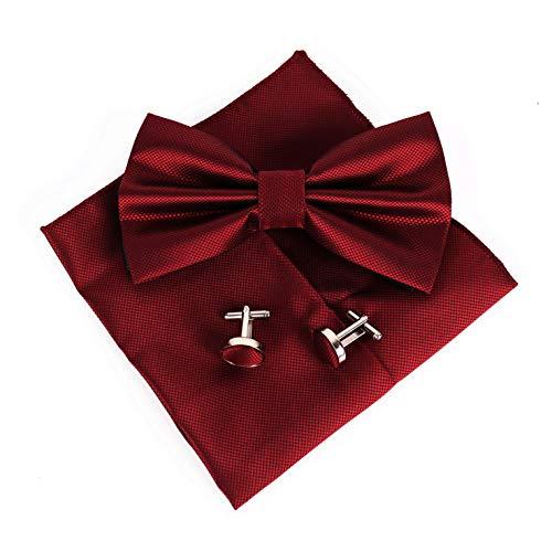 JillyMode Herren Krawatte (Set, mit Einstecktuch u.ManschettenKnöpfe) HANDMADE K0304 (K04-Fliege-Set-Bordeaux)