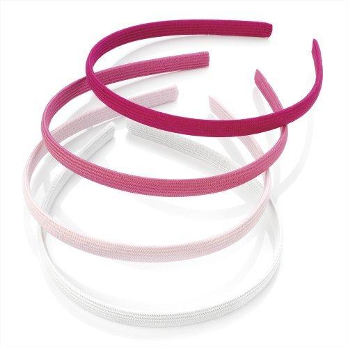 Einfarbiger Stoff bezogen 4 Stück rosa Haarreifen Haarbänder Alice silberfarben
