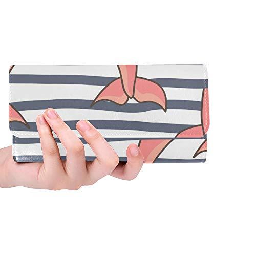 Unique Custom Nautical Fish Tails Femmes Trifold Wallet Longue Bourse Titulaire de la Carte de crédit Cas Sac À Main