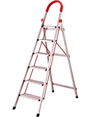BI3 Light Weight Foldable Aluminium Platform Portable Heavy Duty Step Ladder with Anti-Slip Steps (6 Step)