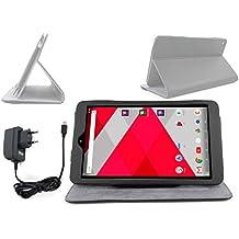 Etui aspect cuir noir + chargeur filaire pour CDISPLAY Tablette Tactile 8'' Full HD de Cdiscount, sortie fin 2016 - sur mesure + stand de maintien intégré DURAGADGET