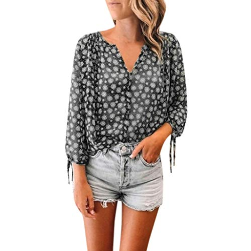 Tohole Damen Blusen Elegante Oberteile V-Ausschnitt Tops Casual Hemd Langarm Shirt Loose Elegant Eifarbig Bluse Hemd Shirt Oberteil (Schwarz,S) -